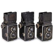 3 x Rolleiflex erstes Modell, um 1929-30Franke & Heidecke, Braunschweig. Alle mit Tessar 4,5/7,5 cm,