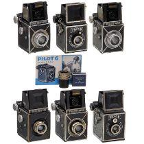 Sammlung Pilot 6, ab 1935Kamera-Werkstätten, Dresden. Alle für 6 x 6 auf 120er-Film. 1) Sehr frühe