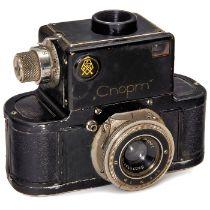 Sport, ab 1936GOMZ, Leningrad, UdSSR. Ohne Nummer, SLR 24 x 36 mm, Verschluß 1/25-1/500 Sek., läuft.