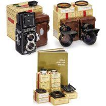 Rolleiflex T Ausrüstung mit Mutar 1,5x und 0,7x, um 1962Franke & Heidecke, Braunschweig. 1)