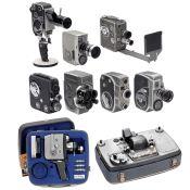 Lot Filmkameras und Projektor Nizo Visacustic 1) Agfa. Movex Reflex Type 5142, für 16 mm auf