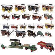 22 Jahrmarkt-Dampffahrzeuge im Maßstab 1:50 und 1:72, um 1990 Hersteller: Corgi Toys und Mattel. Mit