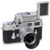 Frühe Leica M3 mit Elmar 2,8/5 cm, um 1955 Leitz, Wetzlar. 1) Leica M3, Nr. 759495,