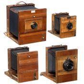 4 Reisekameras, ab 1900 Alle Deutschland. 1) Reisekamera 18 x 24 cm Nr. 33998, dunkelgrüner Balgen