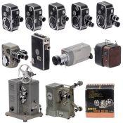 Lot 8mm-Filmkameras, um 1960 Für Doppel-8-Filme, bis auf Nr. 9) alle auf 7,5m-Spulen. 1-3) Bolex,