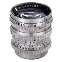 """Sonnar 1,5/6 cm für Leica, um 1946 Ohne Herstellerbezeichnung. Graviert mit: """"Sonnar 1: 1,5 f = 6 cm"""