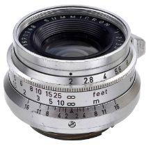 Seltenes Summicron 2/35 mm Schraubgewinde M39, um 1959 Leitz, Wetzlar. Nr. 1671148. Den Raritätsgrad
