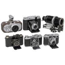 5 Kameras von Zeiss Ikon Zeiss Ikon, Dresden. 1) Super Nettel I (536/24), schwarz, Nr. Y 60629, 24 x