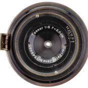 Tessar 8/2,8 cm für Contax, 1935 Carl Zeiss Jena. Nr. 1549485, Nickel/schwarz. Glas sauber, gute