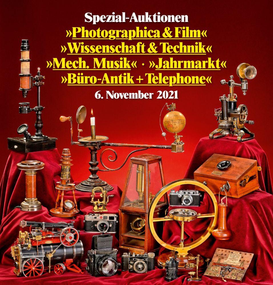 162. Spezial-Auktion Photographica & Film, Wissenschaft & Technik, Büro-Antik, Telephone, Mechanische Musik, Jahrmarkt Attraktionen