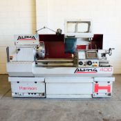 Harrison Alpha 400 CNC Lathe. Swing Over Bed: 400mm. Between Centres: 1250mm. Speeds: 15-2500rpm.