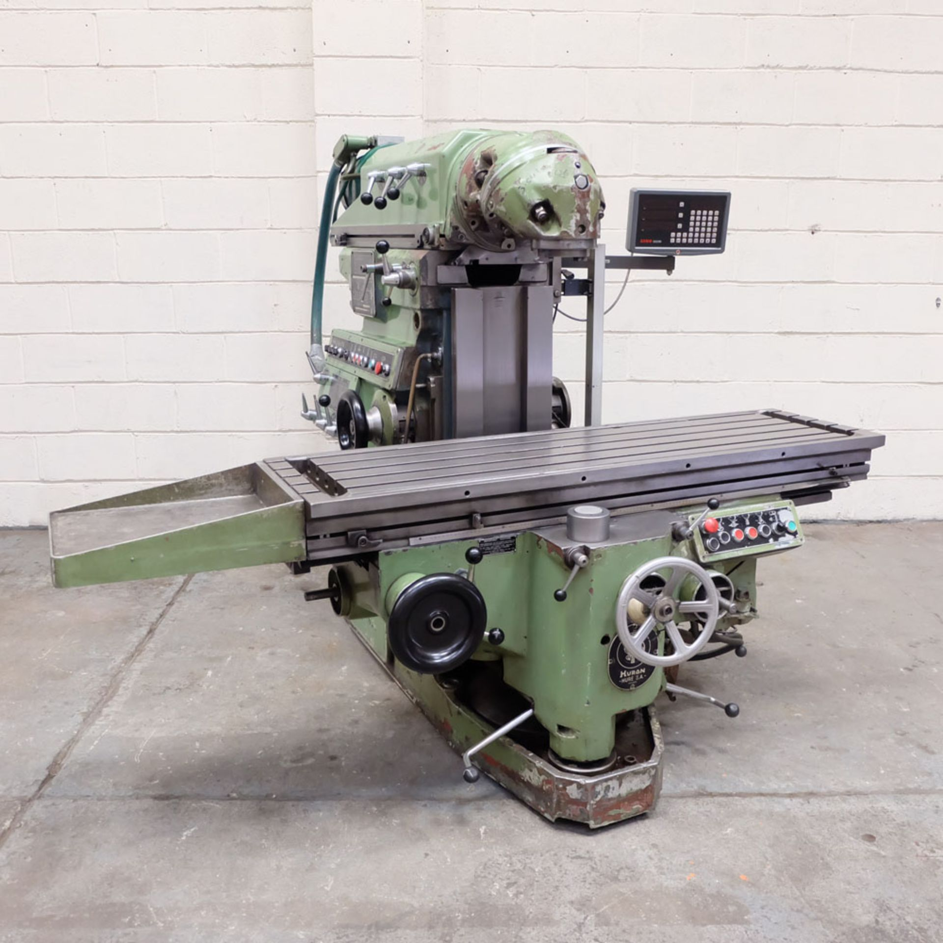 Huron NU5 Toolroom Universal Milling Machine. Table Size: 1635mm x 460mm. Taper: 50 ISO. 3 Axis DRO.