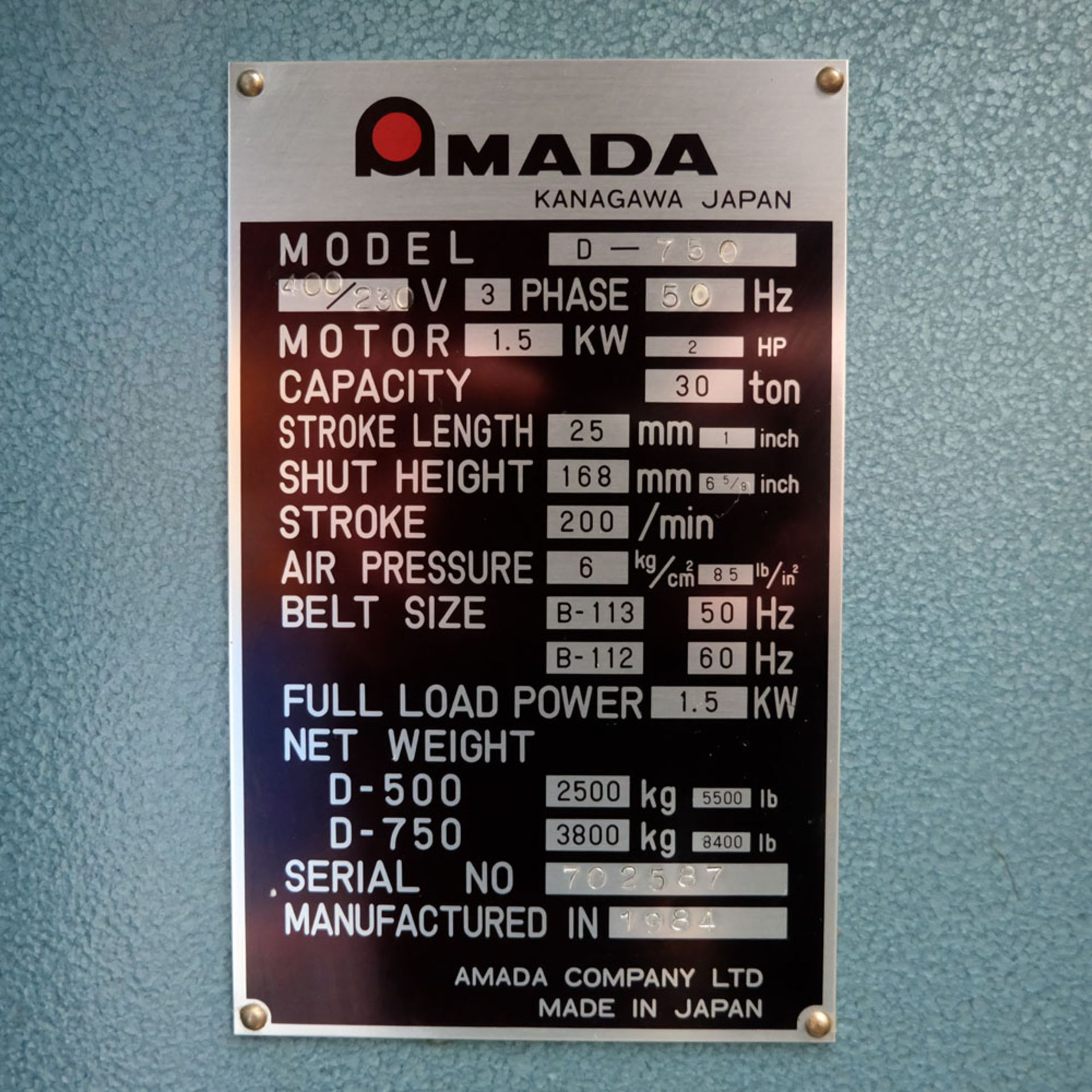 Amada D-750 Duplicator Punching Machine with Tooling and Digital Readout. - Image 7 of 8