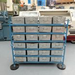 Galvanised Tote Pans on Two Stands. 24 x Galvanised Tote Pans