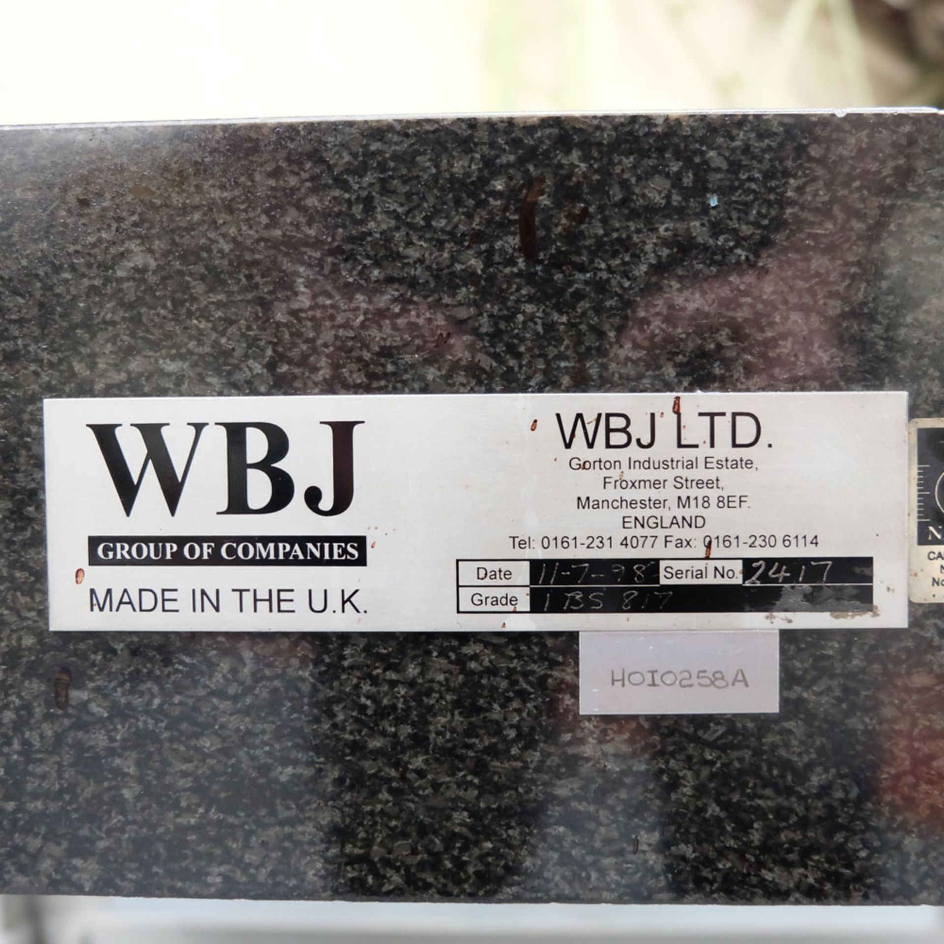 """WBJ Granite Surface Table. Size 48"""" x 36"""". Thickness 6"""". - Image 6 of 6"""