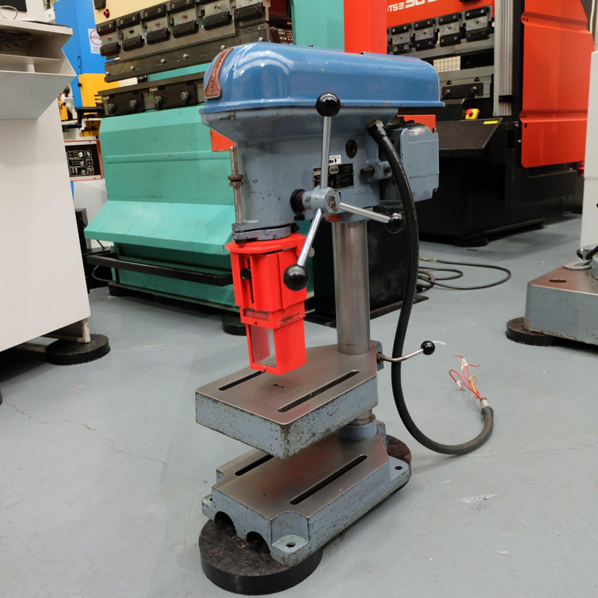 "Meddings Drilltru DTF Bench Drill. Capacity 1/2"". Table Size 9"" x 11""."