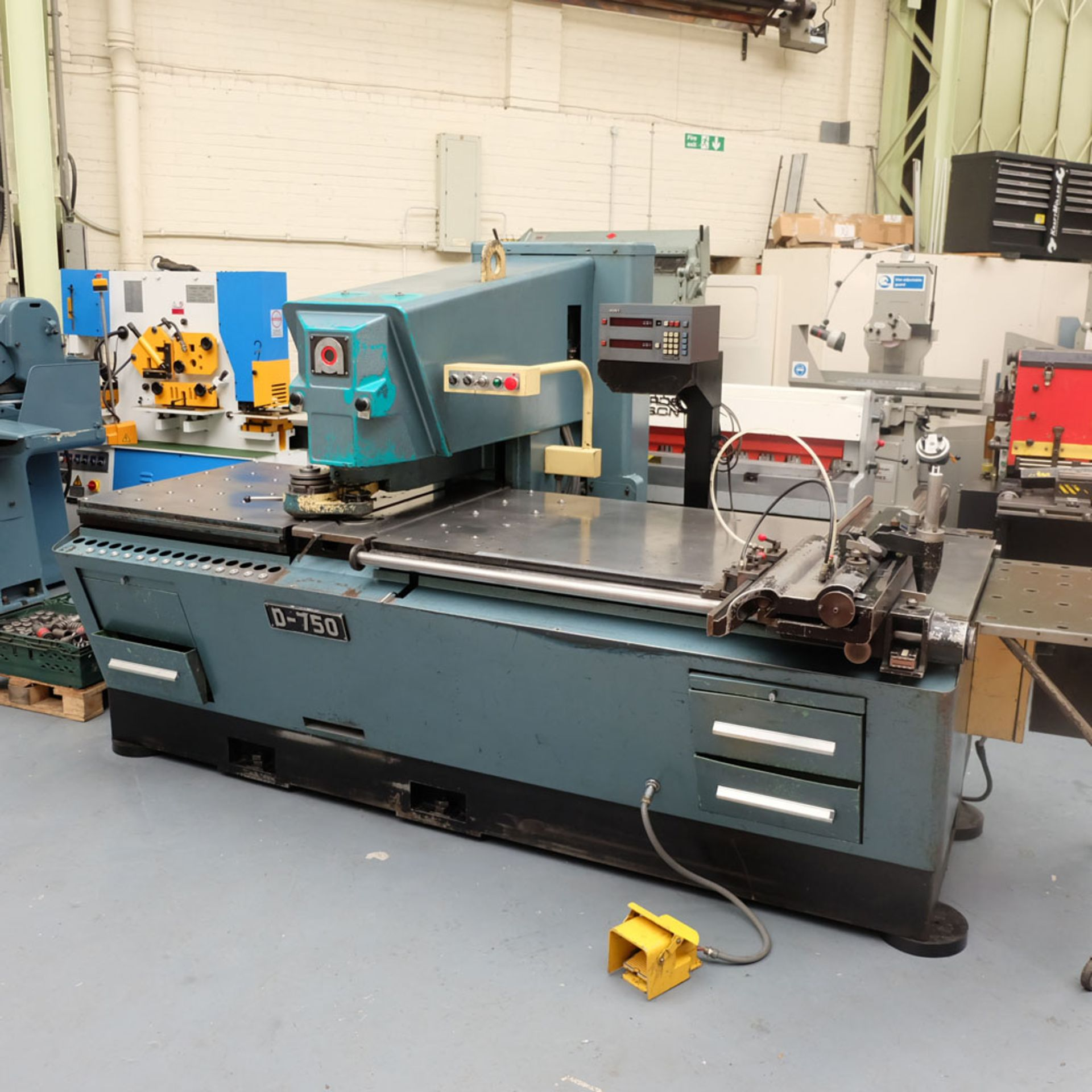 Amada D-750 Duplicator Punching Machine with Tooling and Digital Readout.