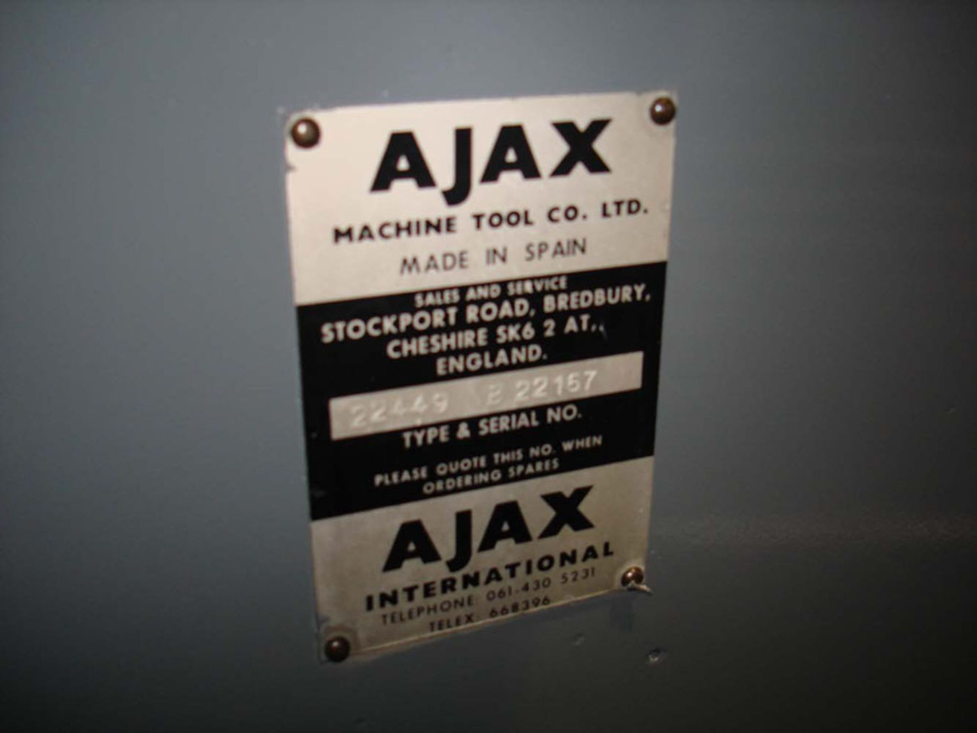 Ajax Model UP Universal Milling Machine. Table 1100 x 240mm. Long Traverse 750mm. - Image 6 of 6