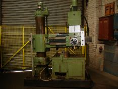 "Asquith Power thrust 4ft 6 Radial Arm Drill. Arm length 4ft 6""."