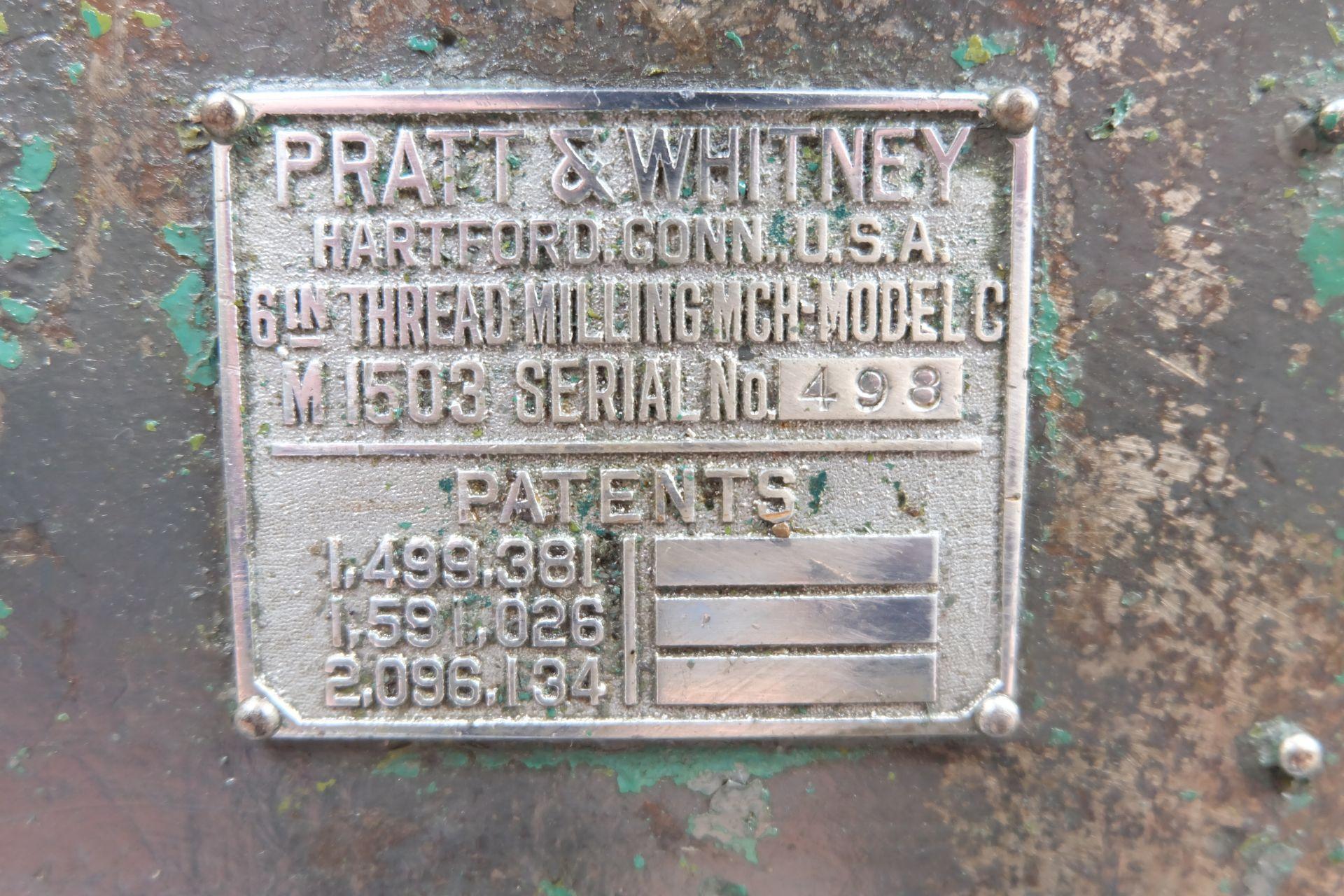 "Pratt & Whitney Model C-M1503 6"" Thread Milling Machine. - Image 8 of 13"