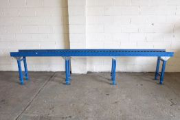 """Roller Conveyors. Approx 12' x 13"""" x 32"""" High (Height Adjustable)."""