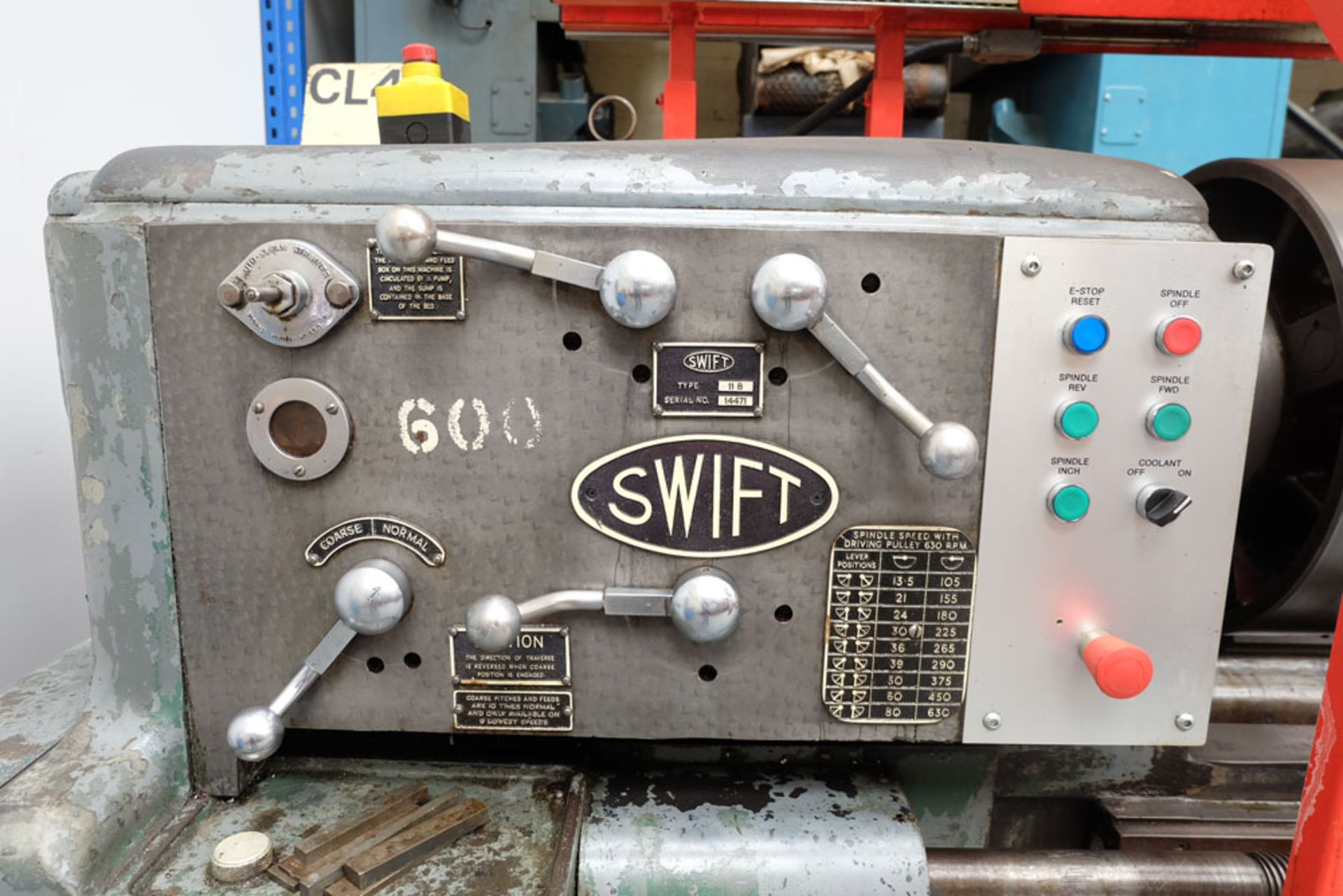 """Swift Type 11B SS and SC Centre Lathe. Between Centres 25'. Swing Over Bed 22"""". - Image 7 of 18"""