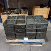 """Quantity Of 32 Tote Bins With Handles Size 12"""" x 12"""" x 6"""" Deep."""
