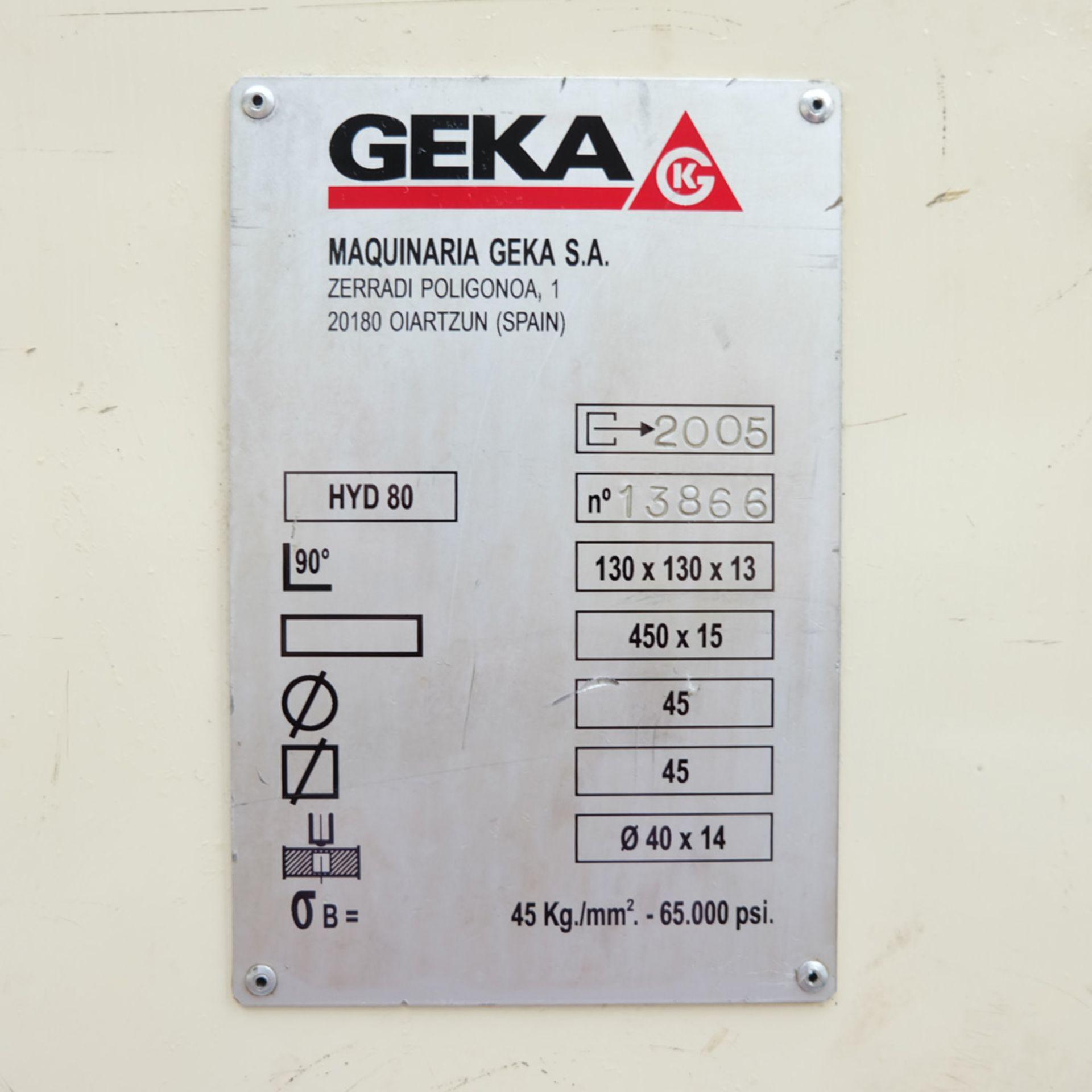 GEKA Model HYD 80/A Universal Steelworker - Image 13 of 21