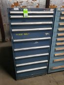 9 drawer tool cabinet. (appears to be Lista) 59tall x 29wide x 28deep.