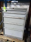 5 drawer tool cabinet. 39tall x 28wide x 28deep.