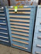 11 drawer Stanley Vidmar tool cabinet. 59tall x 30wide x 28deep.