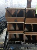 21 stacking metal parts bins.