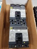 Qty 2 - Square D circuit breakers. Model FAL34020.