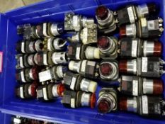 Large assortment of switches and pilot lights.