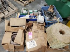 Pallet of assorted parts, sand paper, and hardware.