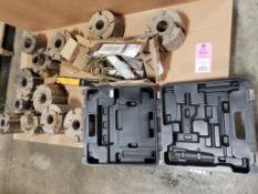Pallet of assorted metalworking parts. Side mills, Dewalt case, Hardy Instruments.
