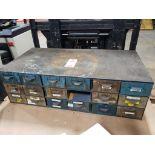 17-Drawer metal tool cabinet.