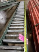 """Roller table 120"""" Long by 11"""" wide."""