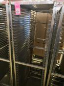 """Qty 2 - baking pan rolling rack. 21""""W x 68""""H x 26""""D."""