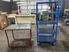 Qty 2 - Industrial work carts. 30x18x68, 36x24x34. LxWxH.