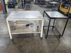 Qty 2 - Industrial work table/carts. 46x38x35, 36x24x36. LxWxH.