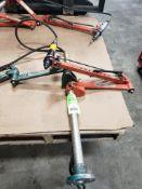 Two-arm tool balancer fixture. Cooper Cleco PBA-18-AH Balance arm. Atlas Copco A9477245 nutrunner.