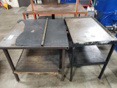 Qty 2 - Industrial work tables. 36x36x34, 37x24x35. LxWxH.