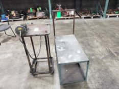 Qty 2 - Industrial work carts. 22x18x40, 17x36x42. LxWxH. One with pneumatic clamp fixture.
