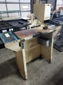 Industrial work table with side trays. 57x37x62. LxWxH.