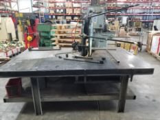 BTM toggle loc pneumatic press. Industrial table 96x66x72. Overall LxWxH.