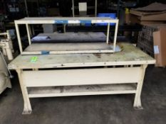 Qty 2 - Industrial work bench. 77x36x34, 52x12x19 LxWxH.