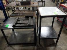 Qty 2 - Industrial work tables. 24x24x41, 36x24x31 LxWxH.