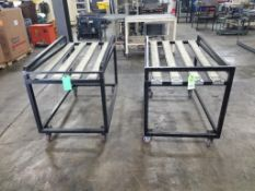 Qty 2 - Industrial single layer roller tables. 48x28x36 each. LxWxH.