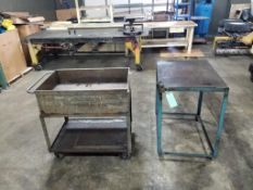Qty 2 - Industrial work carts. 40x24x37, 39x25x40. LxWxH.